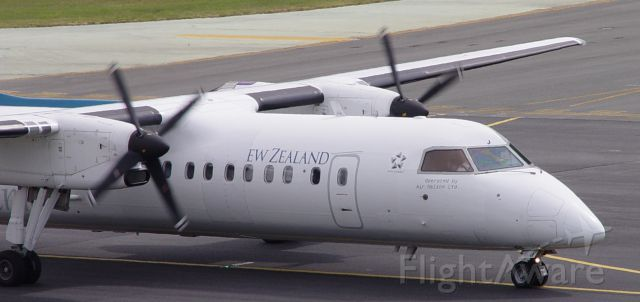de Havilland Dash 8-300 (ZK-NEJ) - The 'Air N' is missing because a panel needed to be repainted after constant wind from the propellers wiping off the paint