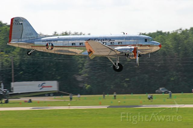 Douglas DC-3 (NC17334) - DC-3 Landing Runway 36 EAA Oshkosh 2010