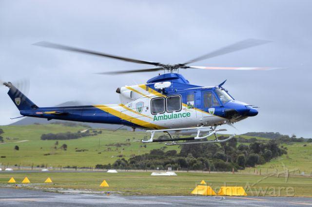 Bell 412 (VH-XCI) - Bell 412 on a medical retrieval landing at Flinders Island, Sept, 2020