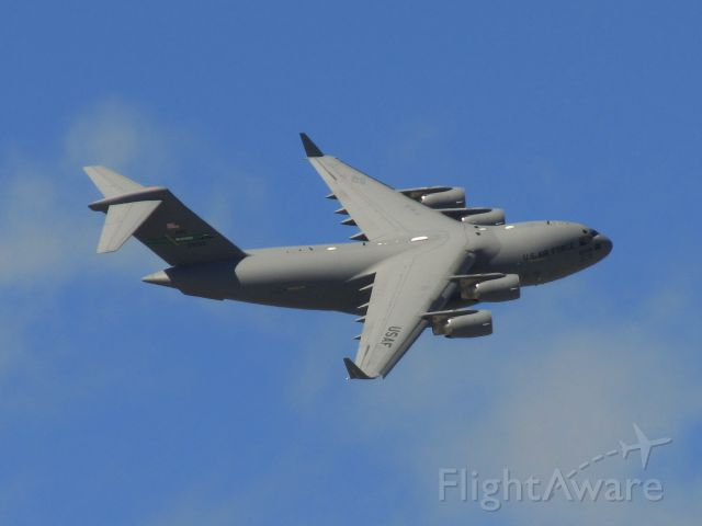 Boeing Globemaster III (N9209) - USAF C-17 Globemaster III from Hawaii's Hickam Air Force Base cruising over Christchurch CBD (New Zealand) in a symbolic salute to mark the opening of the 2012 to 2013 Antarctic season. These USAF Air Mobility Command aircraft fly approximately 100 support missions to Scott Base from Christchurch International Airport during the Antarctic Summer (late Sept- early March) as a part of Operation Deep Freeze. The Globemaster will start taking Scott Base and McMurdo Station staff to Antarctica on Monday 1st October on the first of about 100 trips from Christchurch to the Ice in the next four months.