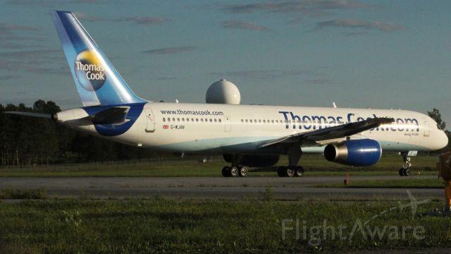 Boeing 757-200 (G-WJAN) - Beginning takeoff roll Runway 25 2010:08:16. 19:03 Plane was in an accident Jan 1, 1998 tail strike Puerto Plata, Dominican Republic