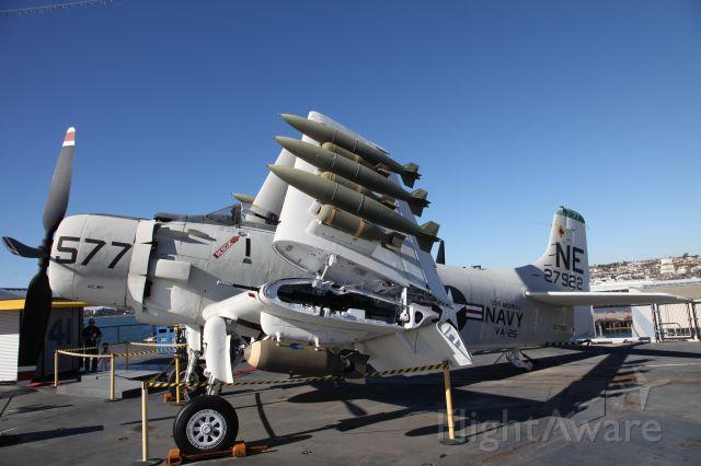 Douglas AD Skyraider — - A-1 Skyraider NE 27922 on USS Midway San Diego November 2014