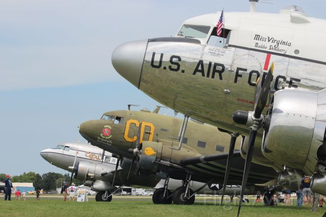 Douglas DC-3 (N47E) - Miss Virginia with her partners at EAA Oshkosh 2021
