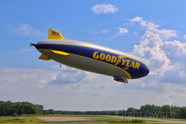 """Unknown/Generic Airship (N1A) - Goodyears first Zeppelin NT (LZN07-101) """"Wingfoot One"""" is seen on short final for a touch and go at Medina Municipal Airport. The airship, now based in Pompano Beach, Florida was in Northeast Ohio for pilot training and crew certification."""