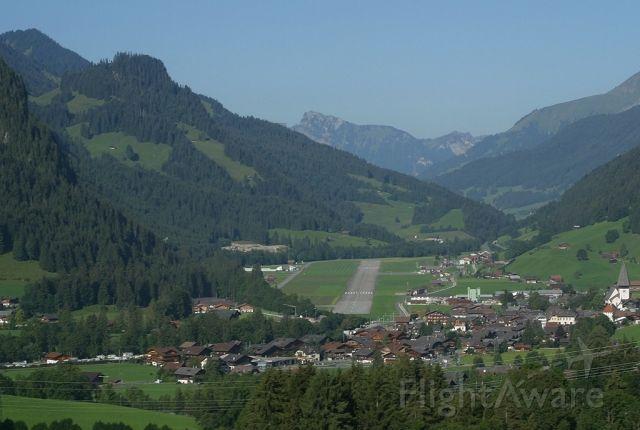 — — - Saanen airport, Switzerland. Typical Swiss alpine airport.