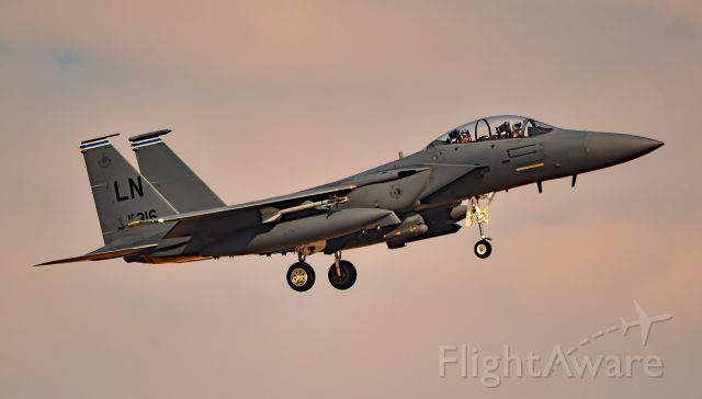 """McDonnell Douglas F-15 Eagle (91-0316) - F-15 Eagle 91-0316 - 48th Fighter Wing (48 FW/492FS) """"Statue of Liberty Wing"""" - Red Flag 16-4br /Las Vegas - Nellis AFB (LSV / KLSV)br /TDelCorobr /August 24, 2016"""