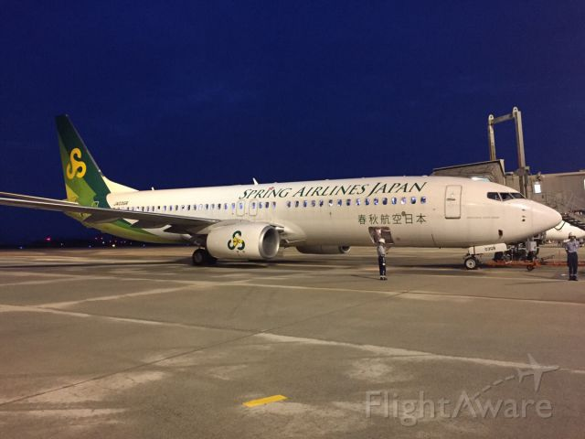 Boeing 737-800 (JA03GR) - 07:15 pm Spring Airlines Japan at Hiroshima airport getting ready for its flight to Tokyo Narita