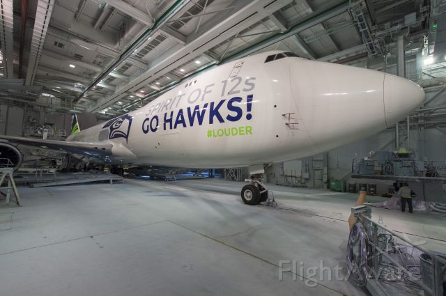 BOEING 747-8 (N770BA) - Boeing's Seattle Seahawks Special Livery on a B747-8 released in celebration of the Seahawk National Football Conference Championship and upcoming appearance in Super Bowl XLVIII.