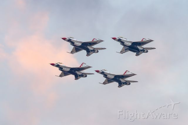 Lockheed F-16 Fighting Falcon — - Following their fly over at the Daytona 500 the Thunderbirds will officially start their 2020 season at Fiesta of Flight, Laughlin, AFB March 14th.