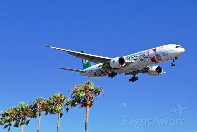 BOEING 777-300 (B-16703) - Hello Kitty arrival at LAX by the In N Out Burger Palm trees lineup