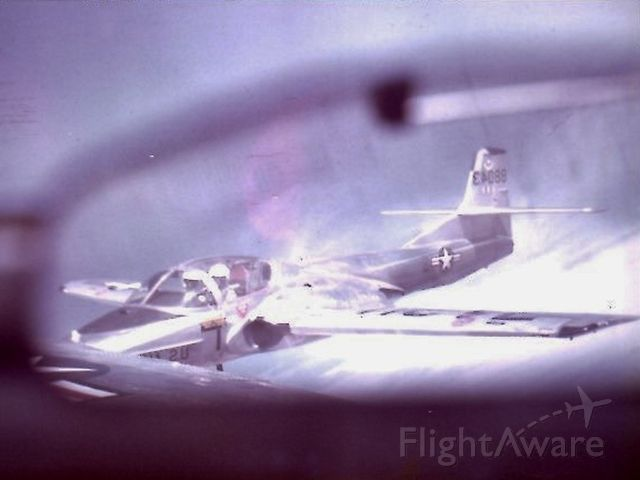 Cessna 318C (N88043) - Formation picture with another T-37 in 1971 through the mirror of our T-37 aircraft.  Williams AFB, Class of 72-02.
