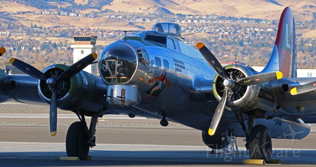 """Boeing B-17 Flying Fortress (N3701G) - The first bit of morning sunlight touches the port side inboard of The Liberty Foundations B-17G """"Madras Maiden"""" (N3701G  .. 44-8543A) as she sits quietly at Atlantic Aviation a few moments before 8 AM today -- Veterans Day (November 11), 2017.  It is a wonderful honor to have this Flying Fortress here at Reno on this day and for this entire Veterans Day weekend.br /br /* For best clarity, I recommend viewing this photo in its FULL size. *"""
