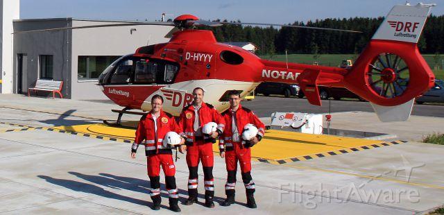 Eurocopter EC-635 (D-HYYY) - EC-H135 rescue helicopter DRF br /pilot:Andreas Helwigbr /Leit.Sani: Cornel Fixbr /Leit.Arzt : Dr.Rainer Gajowezyk