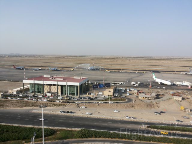 Airbus A380-800 — - First flight of A380 to Iran. Taken from IKIA tower. Welcome to emirates A380 by water ceremony.