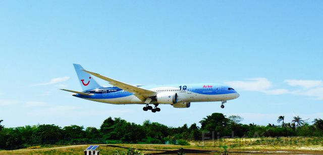 Boeing 787-8 (PH-TFK) - TuiFly B788 ¨10 Jaar (or 10Th Anniversary)¨ In final Approach to MDPP airport!