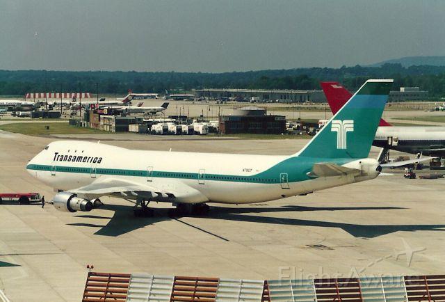 BOEING 747-100 (N780T) - Transamerica 747 on pushback at Gatwick