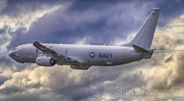 Boeing 737-800 (16-8853) - A US Navy P-8A Poseidon departing the RIAT 2016 airshow at RAF Fairford, UK