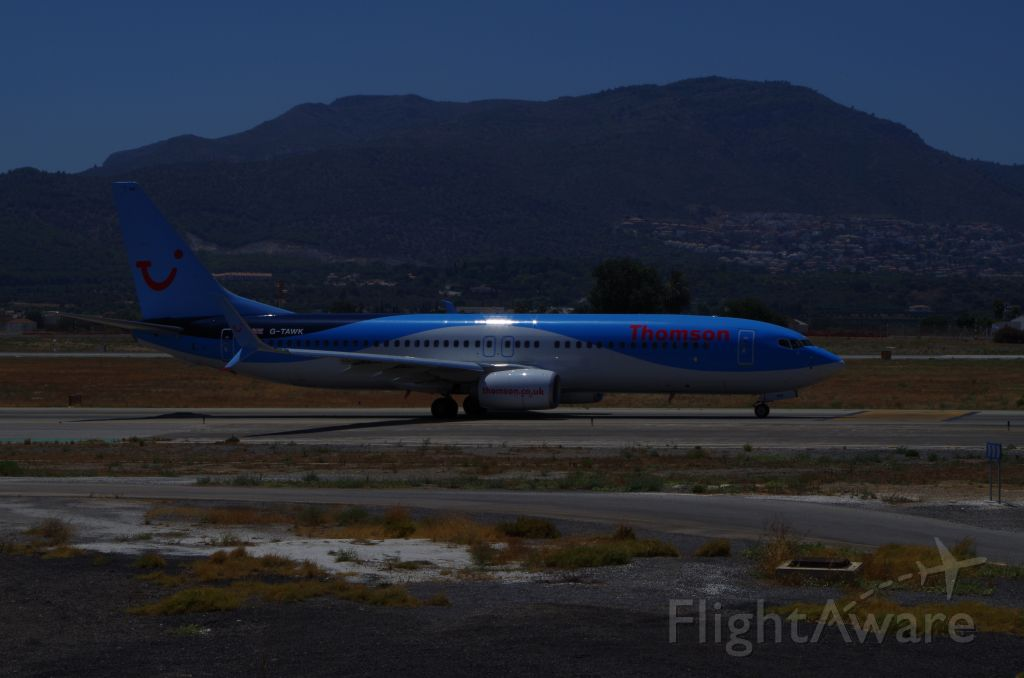 Boeing 737-800 (G-TAWK) - Taxing to takeoff.