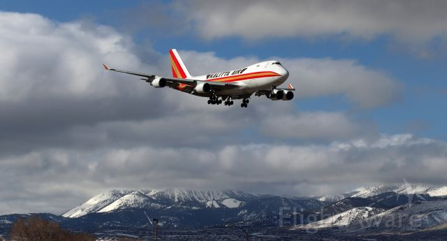 Boeing 747-400 (N403KZ) - The Queen of the Skies, a CKS B744, on very short final to 34R after a brief half-hour hop over the Sierra Nevada from Travis AFB (KSUU), CA.