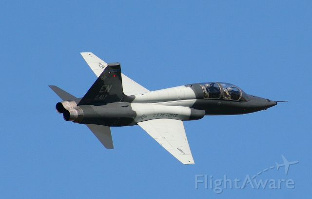 06-5417 — - A T-38C from the 80th FTW joint Euro-NATO group, banks away from runway 25.