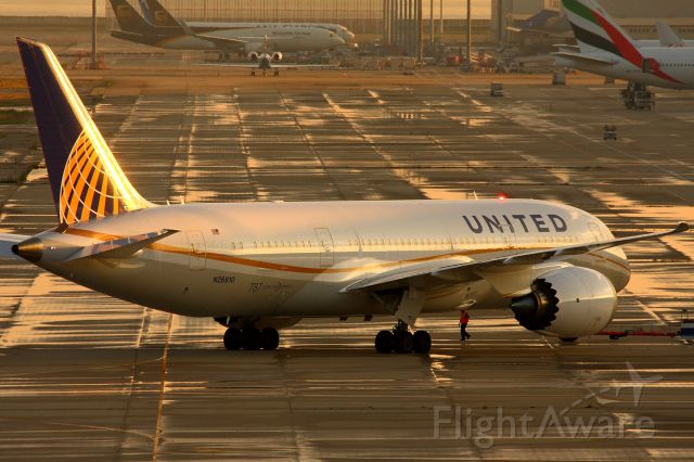 Boeing Dreamliner (Srs.8) (N26910) - Shining in the sunset after the rain.