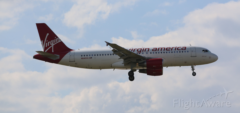 Airbus A320 (N846VA) - Virgin America A320 landing on 04R. 8/17/14