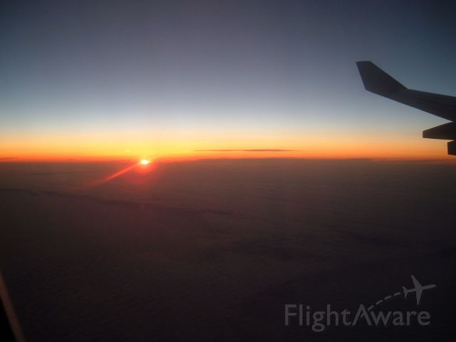 Airbus A340-300 — - Sunset from 38,000 feet. BOS - CDG