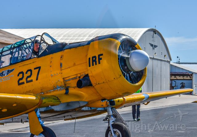 """North American T-6 Texan (N211RF) - One-Romeo-Foxtrot Taxis to the Active. Owned and operated by the CAF """"Tex"""" Hill Wing, Stinson Municipal."""