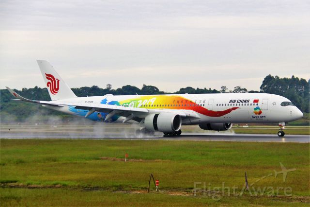 Airbus A350-900 (B-1083) - Air China's EXPO 2019 livery on the wet 02L, ZUUU.br /Tip:Select full-size and wait for a while for better view.