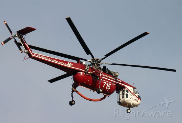Sikorsky CH-54 Tarhe (N715HT) - KRDD - HTS S-64 departing Redding in Aug 2014 headed for the fire near Weaverville, CA