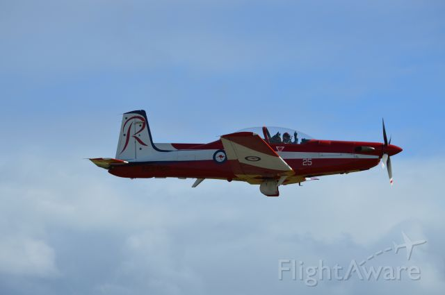 HAWKER DE HAVILLAND PC-9 (A23025) - RAAF PC9 departing after roulettes visit, RWY32, Sept 2016