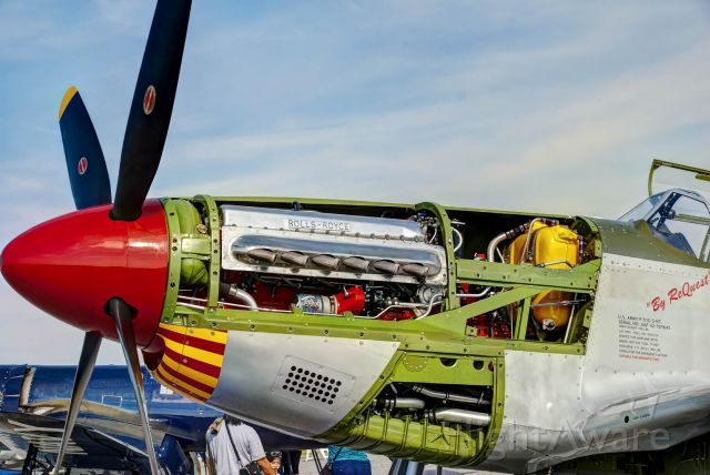 """North American P-51 Mustang (N61429) - The P-51 """"By ReQuest"""" sits on the ramp showing its insides."""