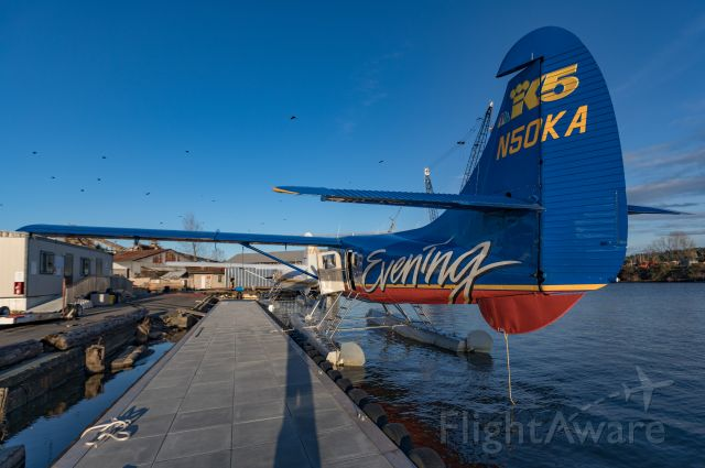 De Havilland Canada DHC-3 Otter (N50KA) - Seattle's King 5 TV Evening Magazine livery pier-side at Kenmore Air