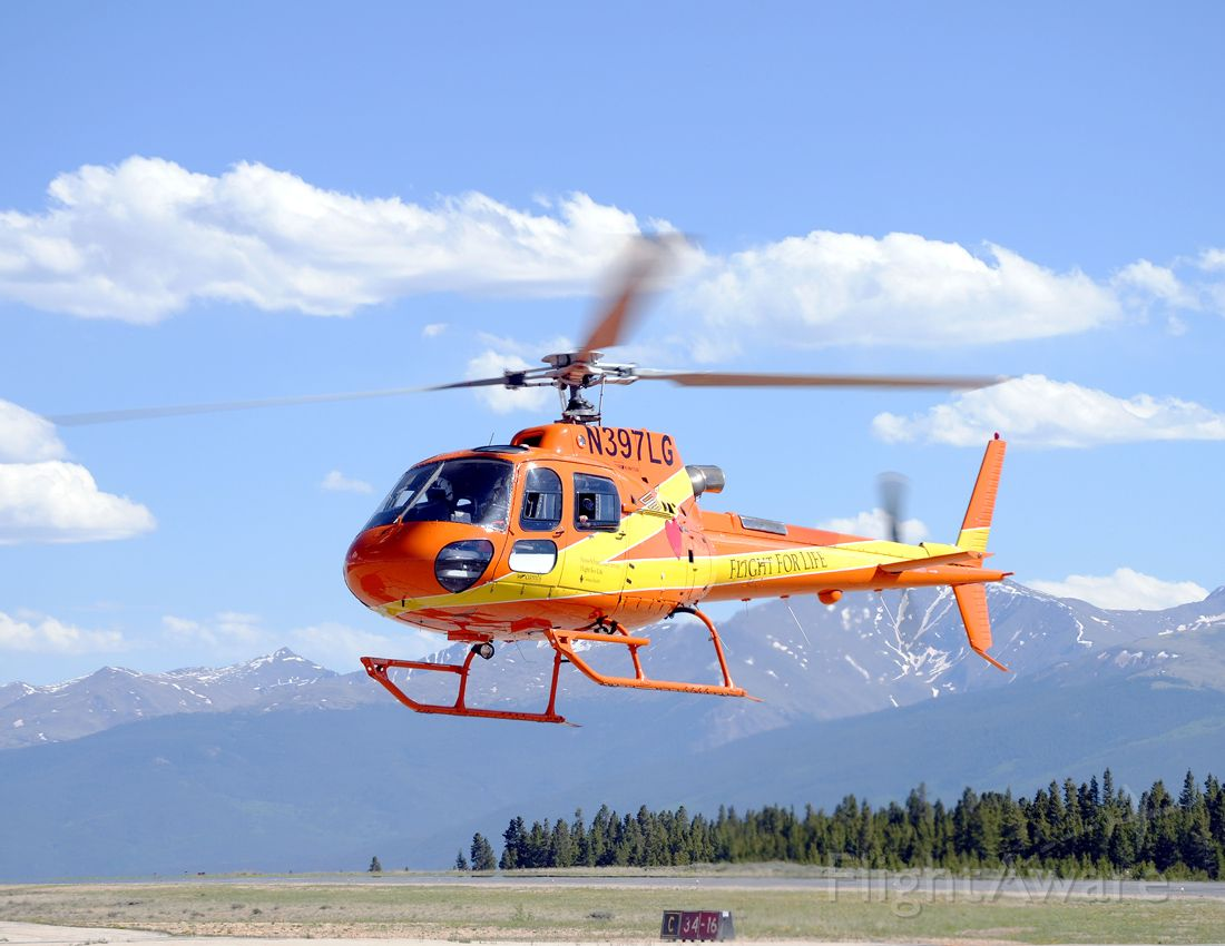 N397LG — - Lifeguard 397 makes an approach to the ramp at Leadville.