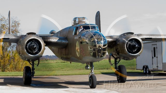 North American TB-25 Mitchell (N898BW) - Tri-State Warbird Museum B-25 starting its taxi to rwy 22 with some nice prop blur!