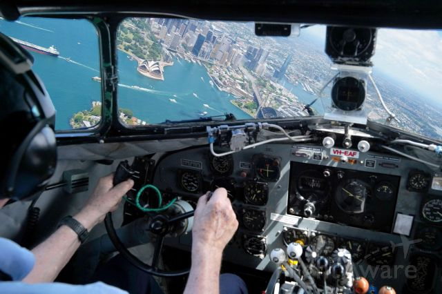 VH-EAF — - From the flight deck of the HARS C-47 flying over Sydney Harbour on the 85th anniversary of the first flight of the DC-3.