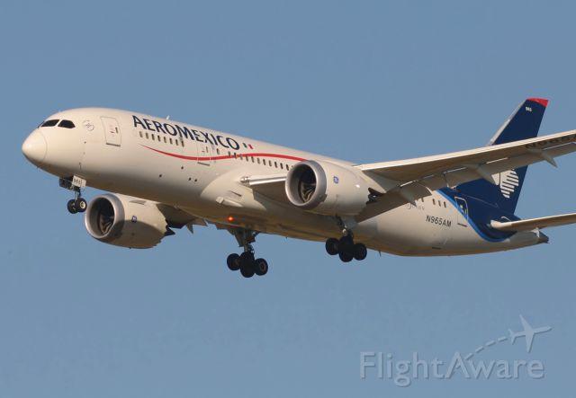Boeing 787-8 (N965AM) - 09/03/2014br /Landing 26G