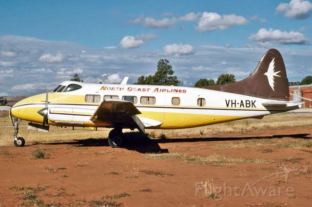 VH-ABK — - NORTH COAST AIRLINES - DE HAVILLAND DH-104 DOVE - REG : VH-ABK (CN 04113) - PARAFIELD AIRPORT ADELAIDE SA. AUSTRALIA - YPPF 26/1/1980