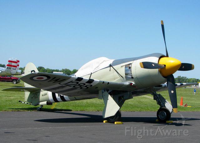 Rockwell Turbo Commander 690 (N15S) - At Oshkosh. 1953 Hawker Sea Fury FB.11