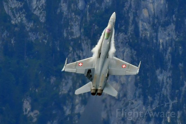 McDonnell Douglas FA-18 Hornet (J5018) - Demonstration in Thun, Switzerland. (08-17-2019) in front of the mount Stockhorn