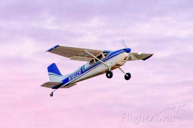 Cessna Skywagon 180 (N180ZR) - Cessna 180 enjoys colorful sunset departure from Livermore Municipal Airport (CA). April 2021.