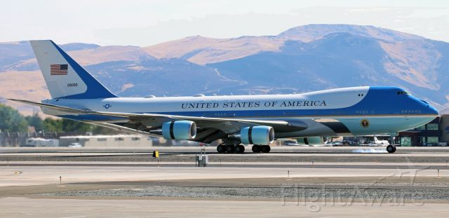 Boeing 747-200 (92-9000) - Making one of the gentlest landings Ive ever seen, the pilots of this Boeing VC-25A (92-9000), operating as Air Force One (89th Airlift Wing, Andrews AFB) with POTUS Trump aboard, touch the nose wheels down on the runway 16R concrete at 10:15 AM to complete a flight from Phoenix.br /* * I wish to express my most heartfelt Thank You to ...  every person associated with the FlightAware photo gallery (especially Mr. R. Jorgensen), everyone at the Reno Tahoe Airport Authority, everyone at the 152nd AW PAO, and the half million (plus) viewers of my photos in the FA gallery because it was each and every one of you who made this momentous day in my life as an amateur aviation photographer possible.  Never again will I have such exclusive up-close photographic access to the greatest Boeing 747 in the world and I am appreciative beyond my ability to express. * *