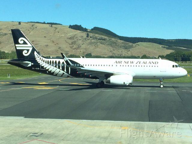 Airbus A320 (ZK-OXB) - ZK-OXB departing Dunedin (NZDN) for Wellington (NZWN).