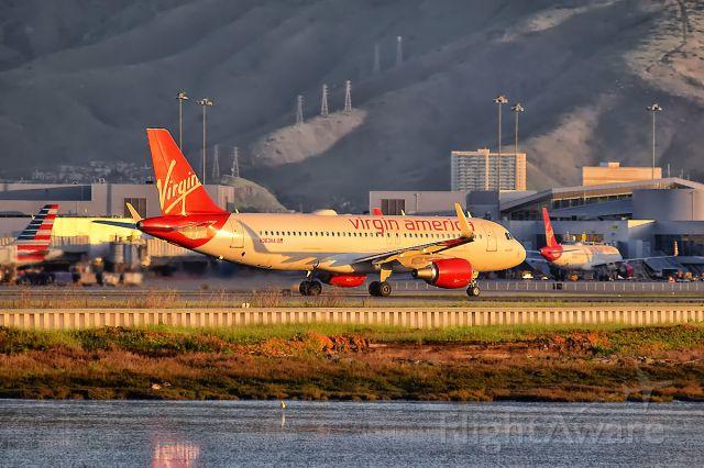 Airbus A320 (N363VA) - Golden Hour at SFO