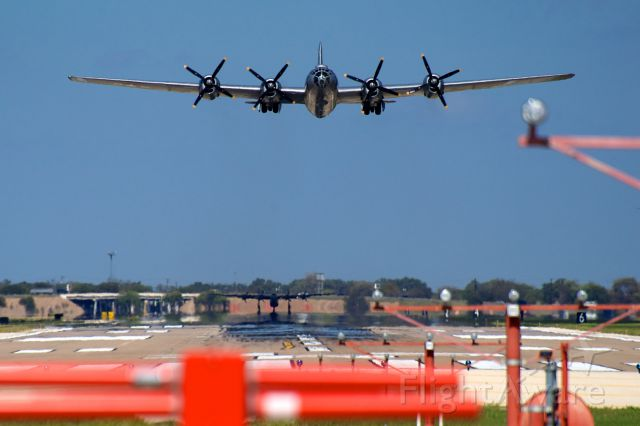Boeing B-29 Superfortress (NX529B) - Commerative Air Force B29 climbing off RWY 17L while their B24 waits in position.