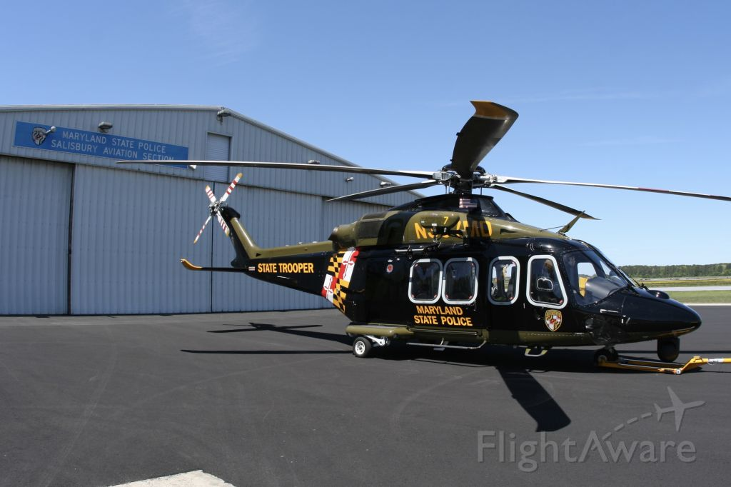 BELL-AGUSTA AB-139 (N387MD) - May 1, 2021 - parked in front of Trooper 4 base hangar in Salisbury