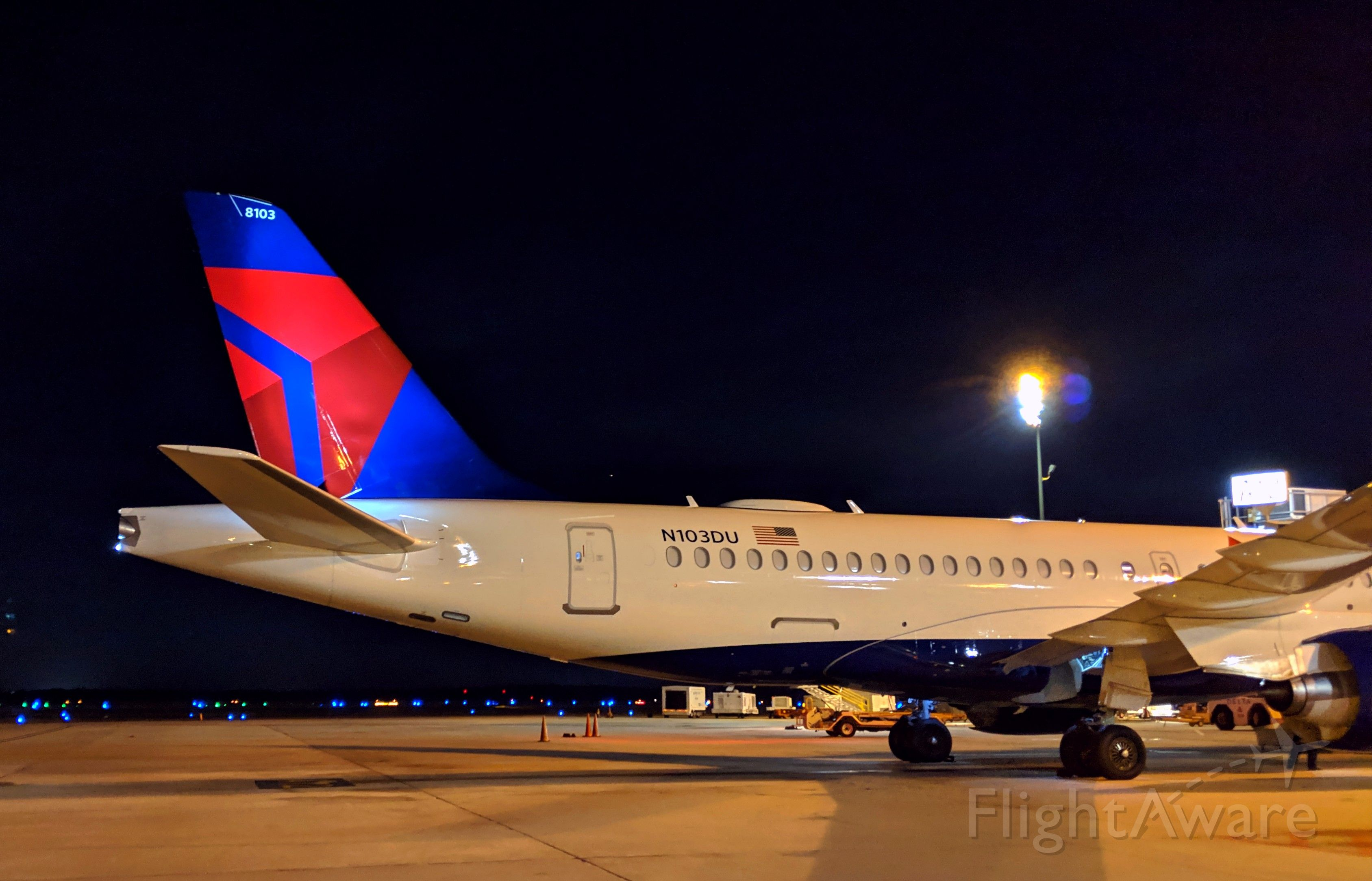 N103DU — - first A220 ever to arrive at George Bush Intercontinental.