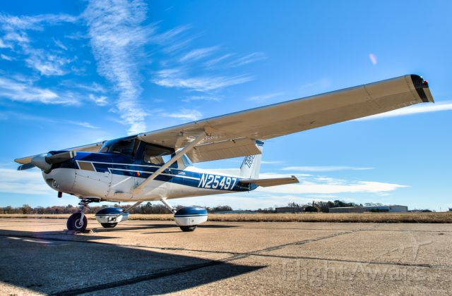 Cessna 152 (N25497) - Preflight done and ready to go at the Jet Center at Tyler Airport.