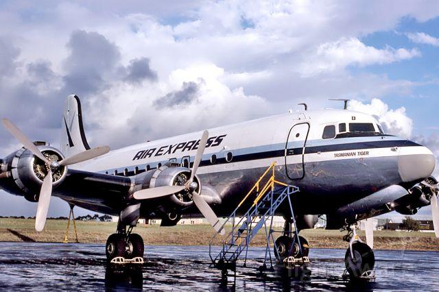 VH-EDB — - AIR EXPRESS - DOUGLAS C-54A-1-DO - REG : VH-EDB (CN 7458/66) - ESSENDON MELBOURNE VIC. AUSTRALIA - YMEN 6/4/1978 35MM SLIDE CONVERSION USING A LIGHTBOX AND A NIKON L810 CAMERA IN THE MACRO MODE.