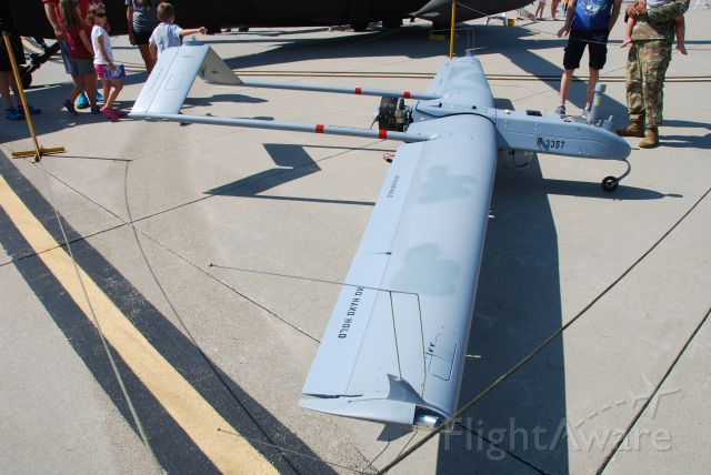 N3357 — - Now THIS is a DRONE! An AAI RQ-7 Shadow on static display at Fly Iowa 2019.